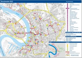 Streckenführung des Düsseldorf-Marathons 2013